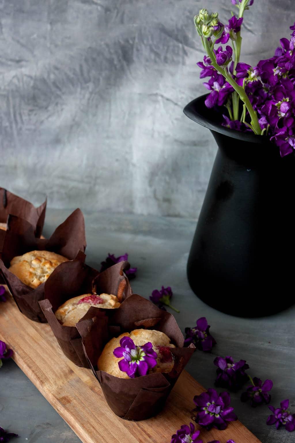 Receta de muffins de frambuesa con chocolate blanco
