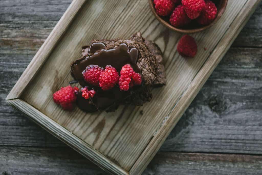 Receta brownie con frambuesa